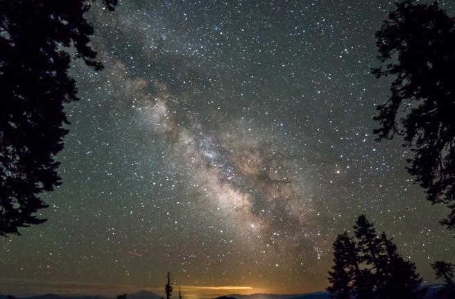 Stars over Mt Shasta from Mt Ashland Campsite